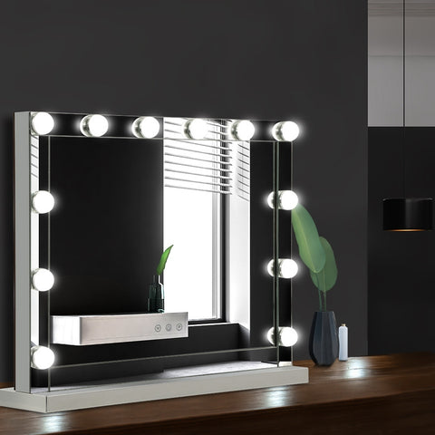 Embellir Hollywood Makeup Mirror With Light 12 LED Bulbs Vanity Lighted Silver 58cm x 46cm