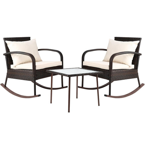 Gardeon 3 Piece Outdoor Chair Rocking Set - Brown