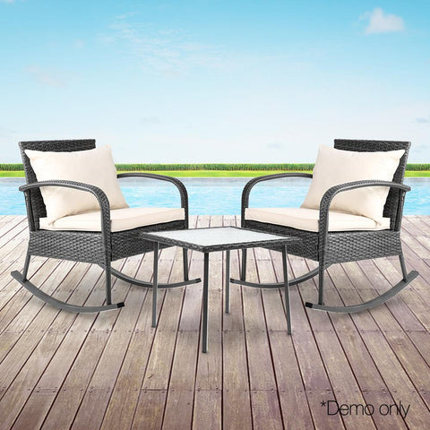 Gardeon 3 Piece Outdoor Chair Rocking Set - Grey