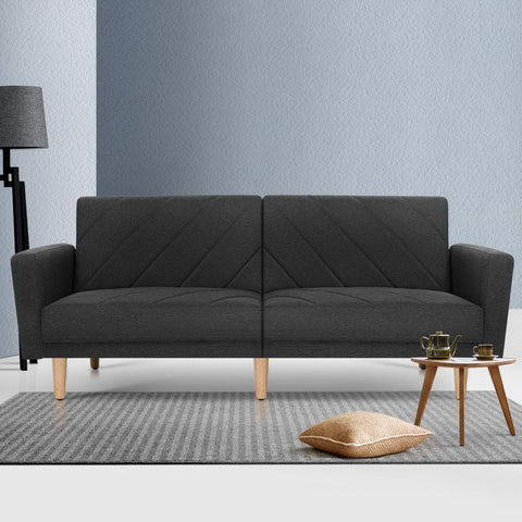 Artiss 1950mm 3 Seater Sofa Bed Recliner Lounge Couch Futon Dark Grey Fabric
