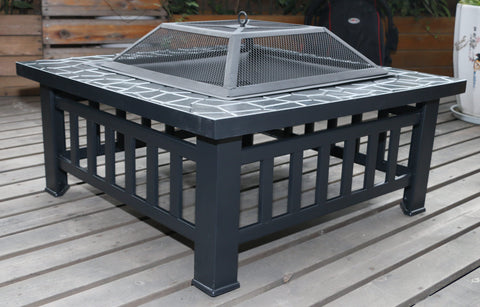 18 Square Metal Fire Pit Outdoor Heater""