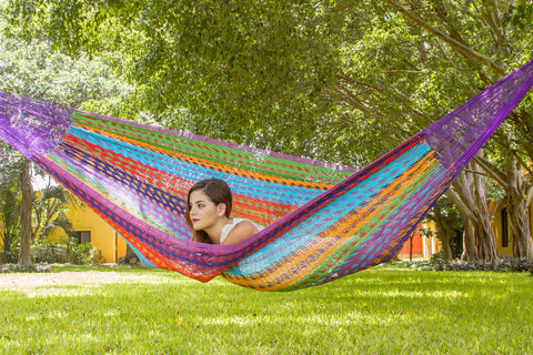 Jumbo Size Outdoor Cotton Hammock in Colorina