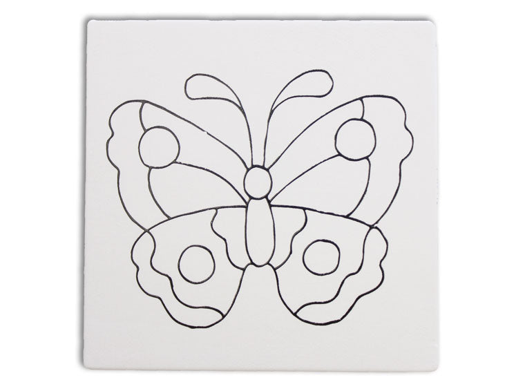 Hand Detailed Butterfly Tile
