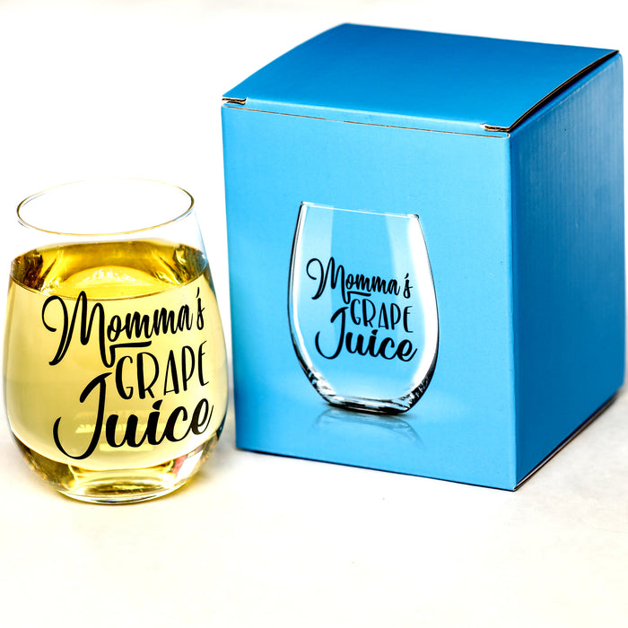 """Momma's Grape Juice"" 15 oz Stemless Funny Wine Glass"