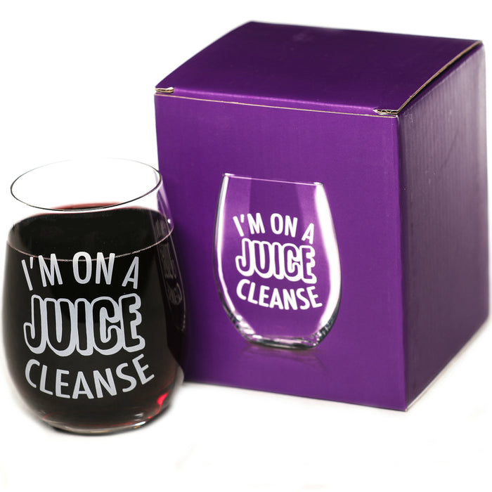 """I'm On A Juice Cleanse"" 15 oz Stemless Funny Wine Glass"