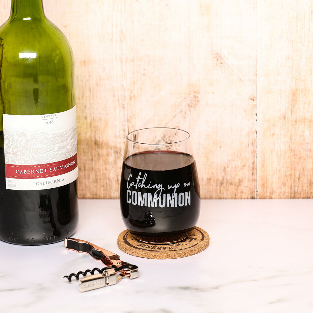 """Catching Up On Communion"" 15 oz Stemless Funny Wine Glass"
