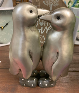 Silver Kissing Penguins