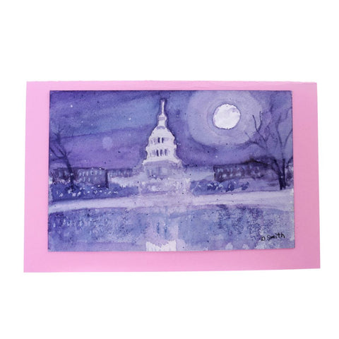 Oly Capital by Moonlight Original Watercolor Greeting Card