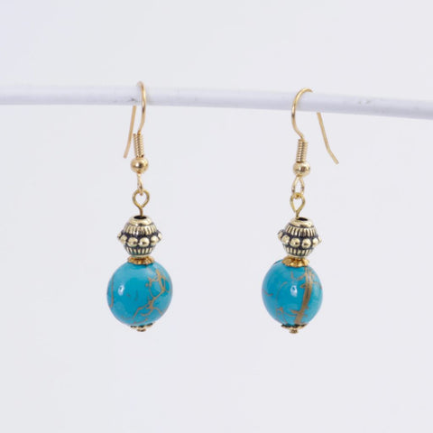 Teal & Gold Earrings