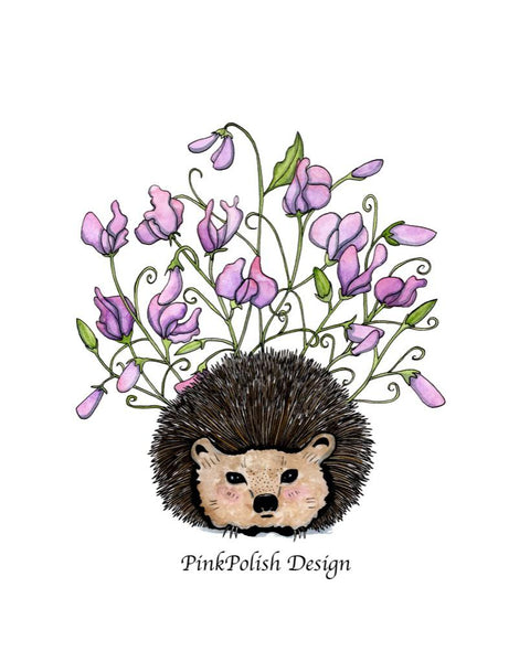 Sweet Pea Hedgehog Art Print