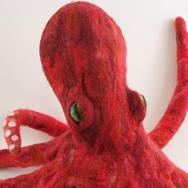 Large Red Needled Felted Oly Octopus