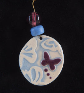 Purple Butterfly Porcelain Charm