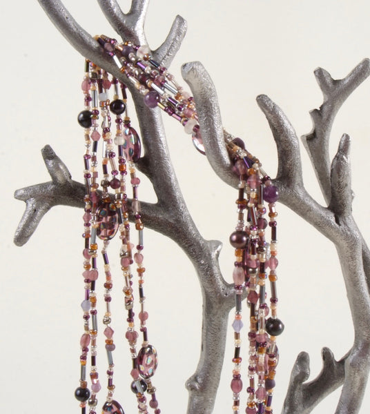 Purple & Gold Multi Strand Beaded Necklace