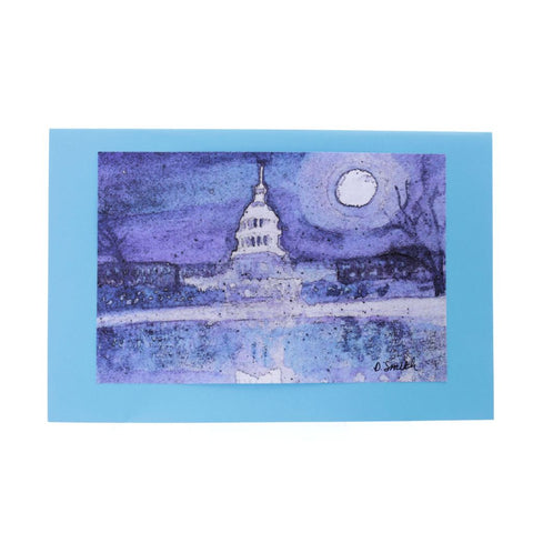Oly Capital by Moonlight Fine Art Greeting Card