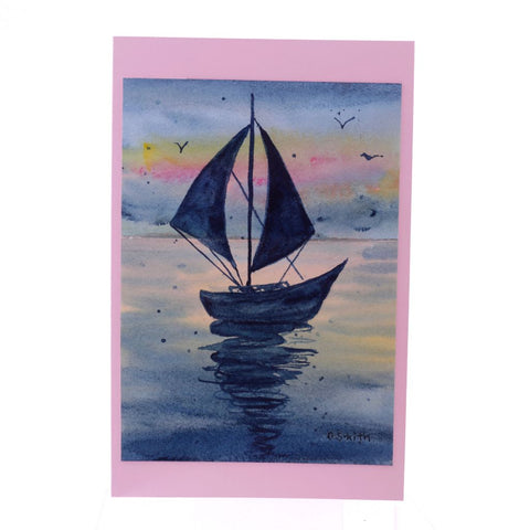 Sail by Rainbow Sunset Original Watercolor Greeting Card