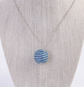 Upcycled Blue Fabric Bead Necklace