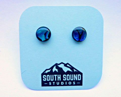 Blue Abalone Shell Stud Earrings
