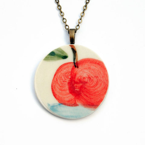 Red Apple Ceramic Pendent Necklace