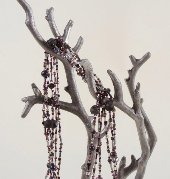 Purple Hues Multi Strand Beaded Necklace