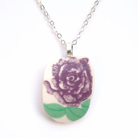 Upcycled Purple Flower Pendant Necklace
