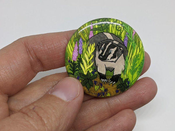 Badger button pin by TursiArt