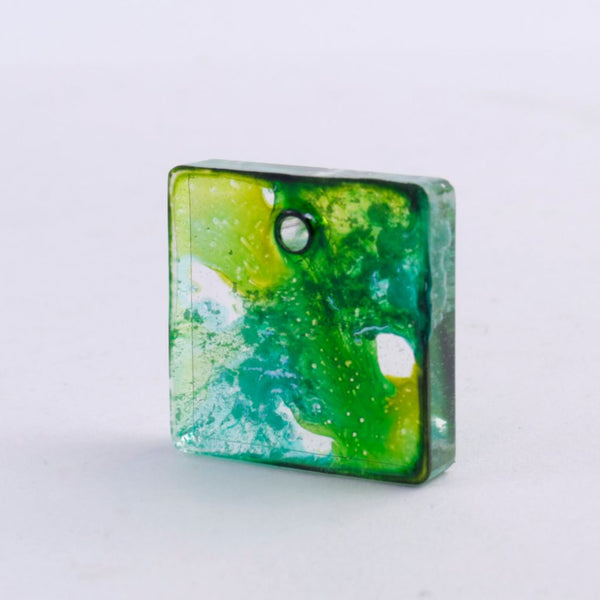 Small Green & Blue Resin Pendant