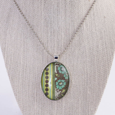 Recycled Paper Cabochon Pendant Necklace