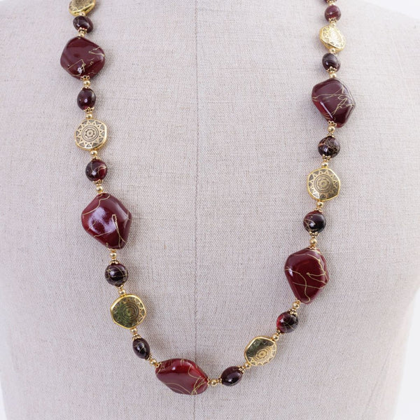 Wine & Gold Chunky Necklace