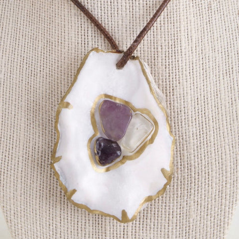 Amethyst Oyster Shell Necklace