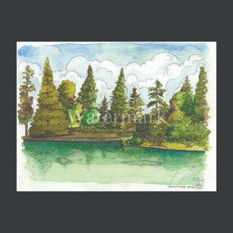 Laurelhurst Pond Original Watercolor