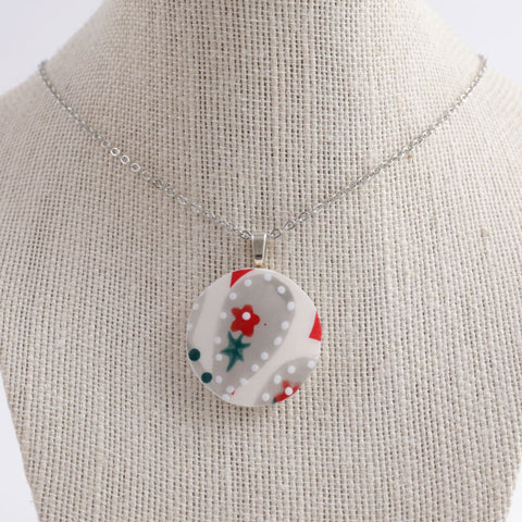 Upcycled Floral Ceramic Pendant Necklace