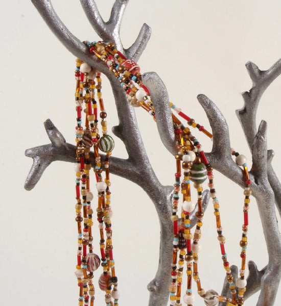 Gold & Red Multi Strand Beaded Necklace