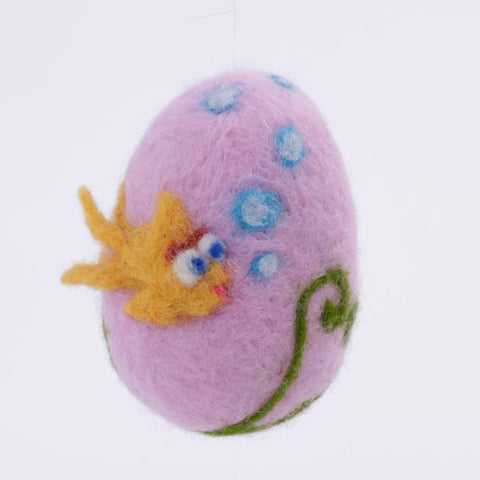 Purple Needle Felted Wool Egg with Fish Woolly One