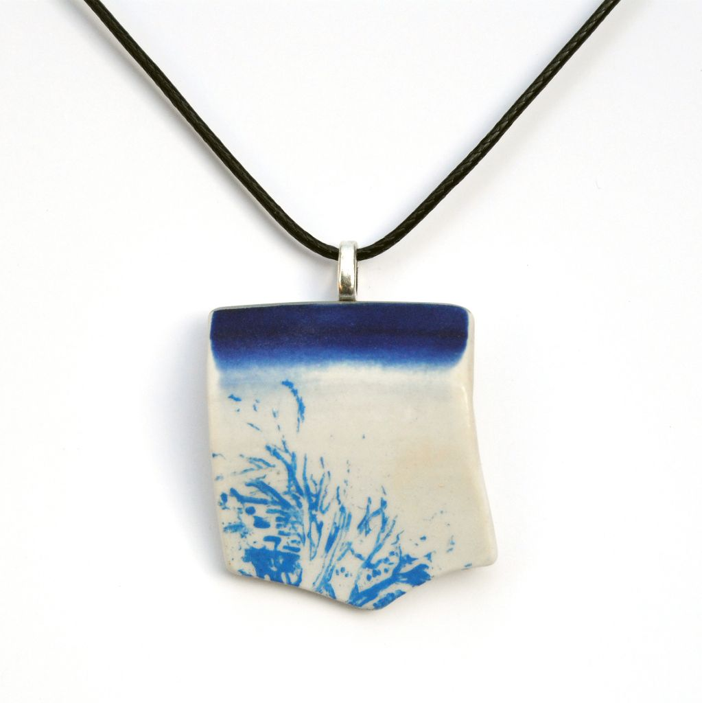 Upcycled Ceramic Blue & White Pendant Necklace