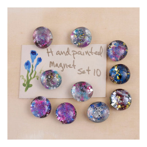 Set of 10 Hand painted Glittery Magnets
