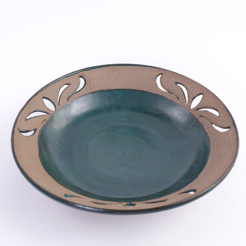 Large Turquoise Cutwork Pottery Bowl
