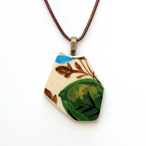 Green & Brown Leaf Upcycled Ceramic Pendant Necklace