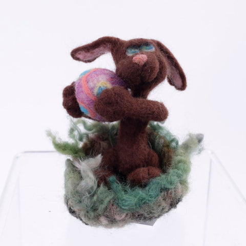 Chocolate Bunny Needle Felted Wool Woolly One