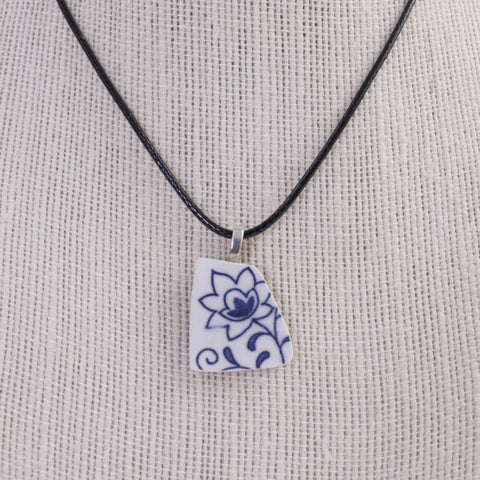 Blue Delft Upcycled Ceramic Pendant Necklace