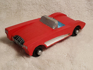 Handcarved Wooden Classic Vette 58-62 Red