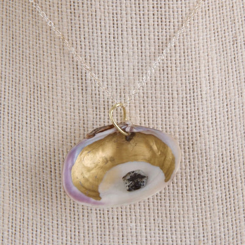 Gold Clam Shell Necklace