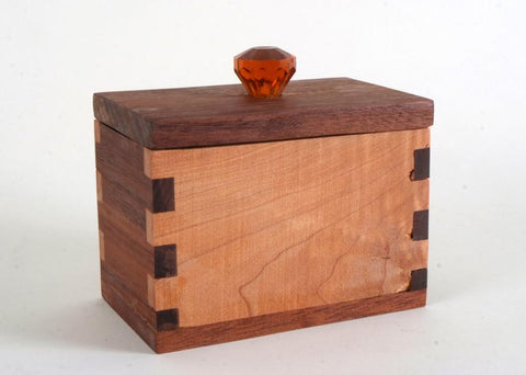 Figured Maple, Black Walnut & Mahogany Hardwood Box