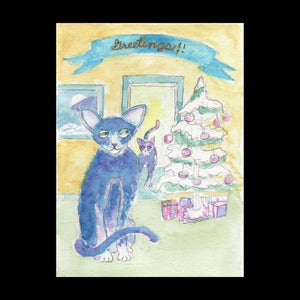 Two Russian Blues Postcard