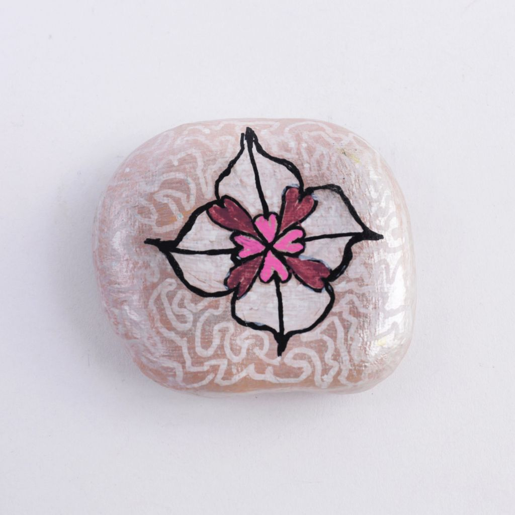 Hand Painted White Heart Flower Rock