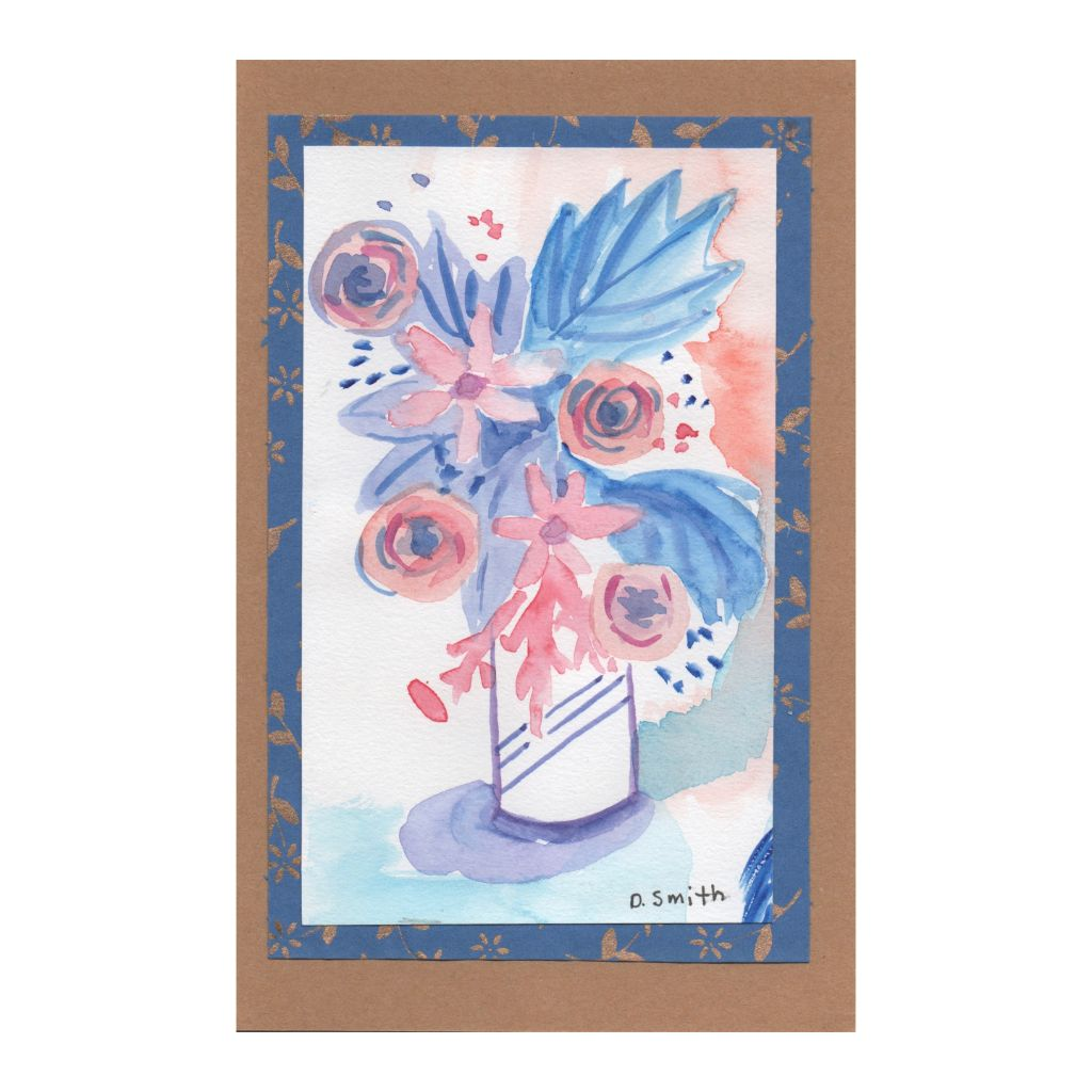 Blue and Pink Floral Card