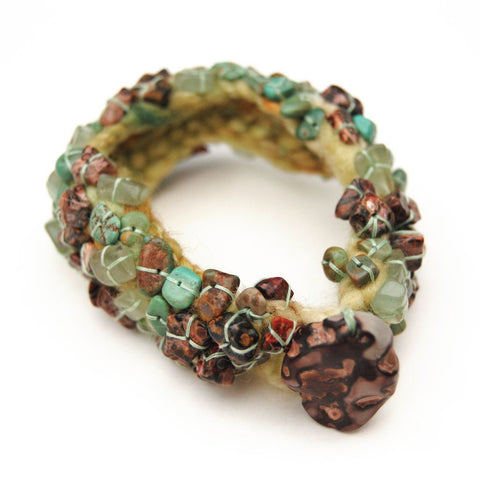 Earth Tones Crochet & Stone Chip Bracelet