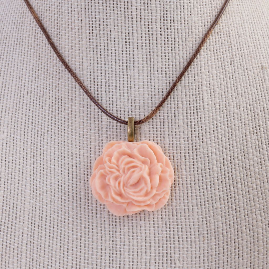 Peony / Rose Polymer Clay Necklace