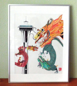 The Year of the Dragon- Framed Original Watercolor