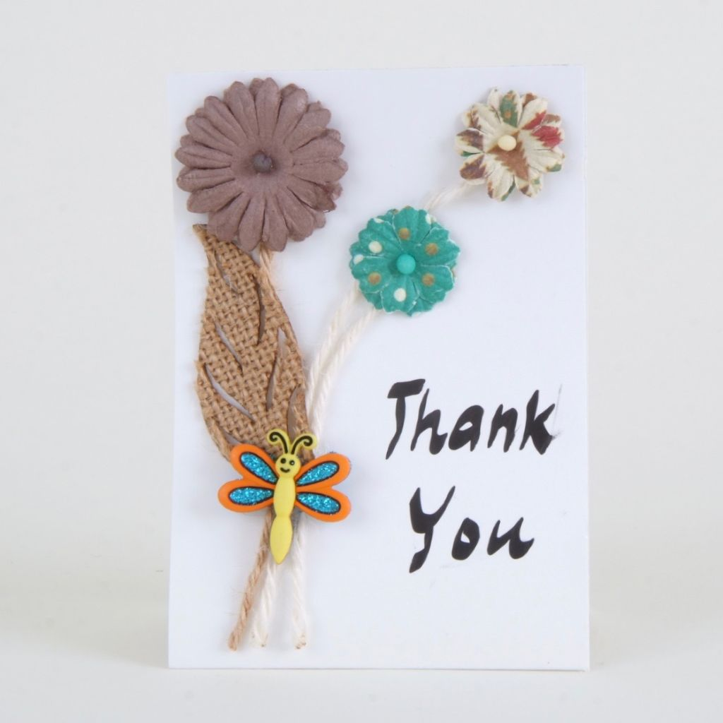 Butterfly & Flowers 3-D Thank You Card