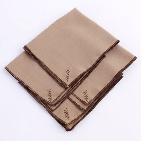 Brown Embroidered Napkins